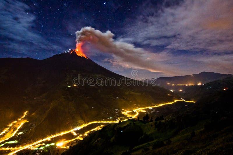 Tungurahua volcano explosion stock image