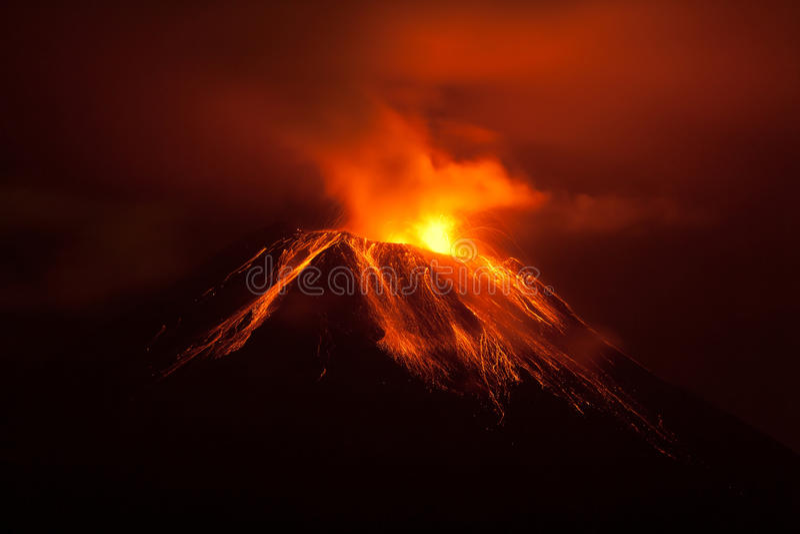 Tungurahua Volcano Powerful Night Eruption stock images