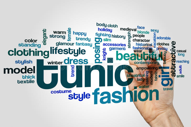 Tunic word cloud. Concept on grey background stock image