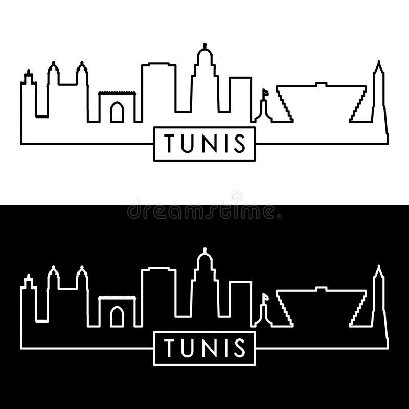 Tunis horisont Linjär stildesign royaltyfri illustrationer