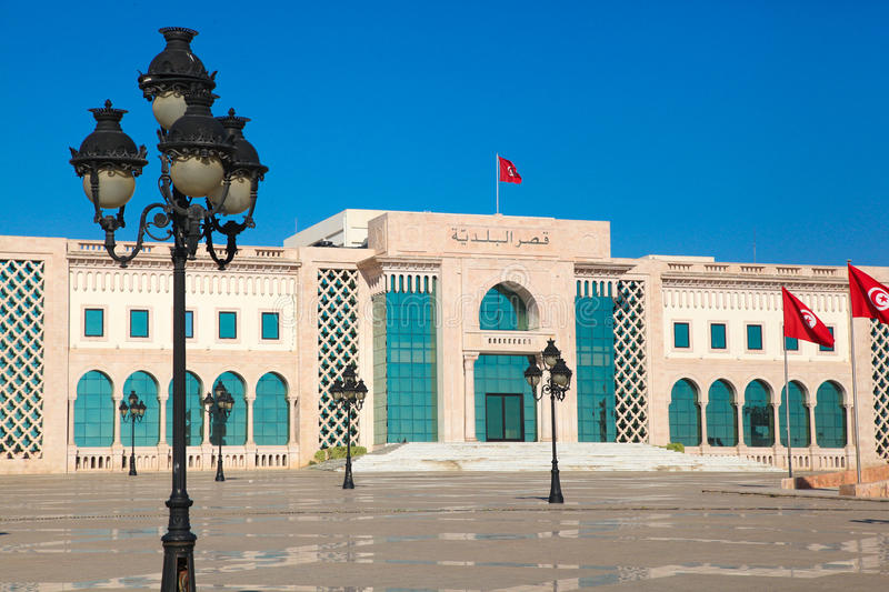 Tunis main square. Tourist attraction landmark with monuments an. D flags royalty free stock images