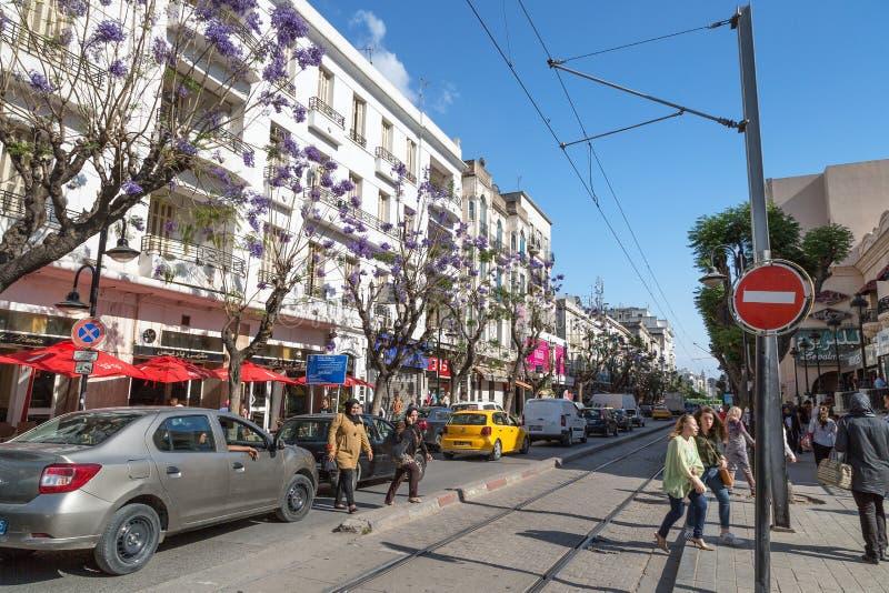 Tunis, Tunesië - Mei 19, 2017: Bezige straat met de bomen van bloominjacaranda De lente stock afbeelding