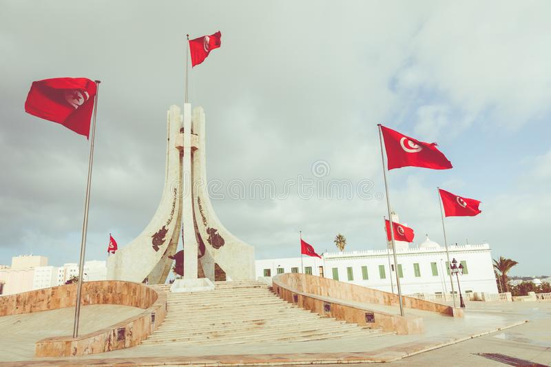 TUNIS, TUNISIA - DECEMBER 10, 2018: Public square of Tunis, national monument and city hall, Tunisia stock images