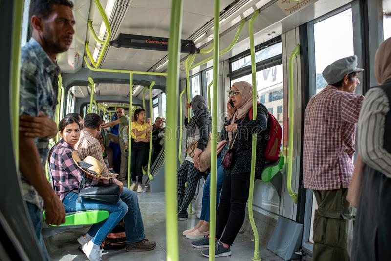 TUNIS, TUNISIA - JUNE 15, 2019: Public Transport in Tunis. People Are Traveling with Tram royalty free stock photos