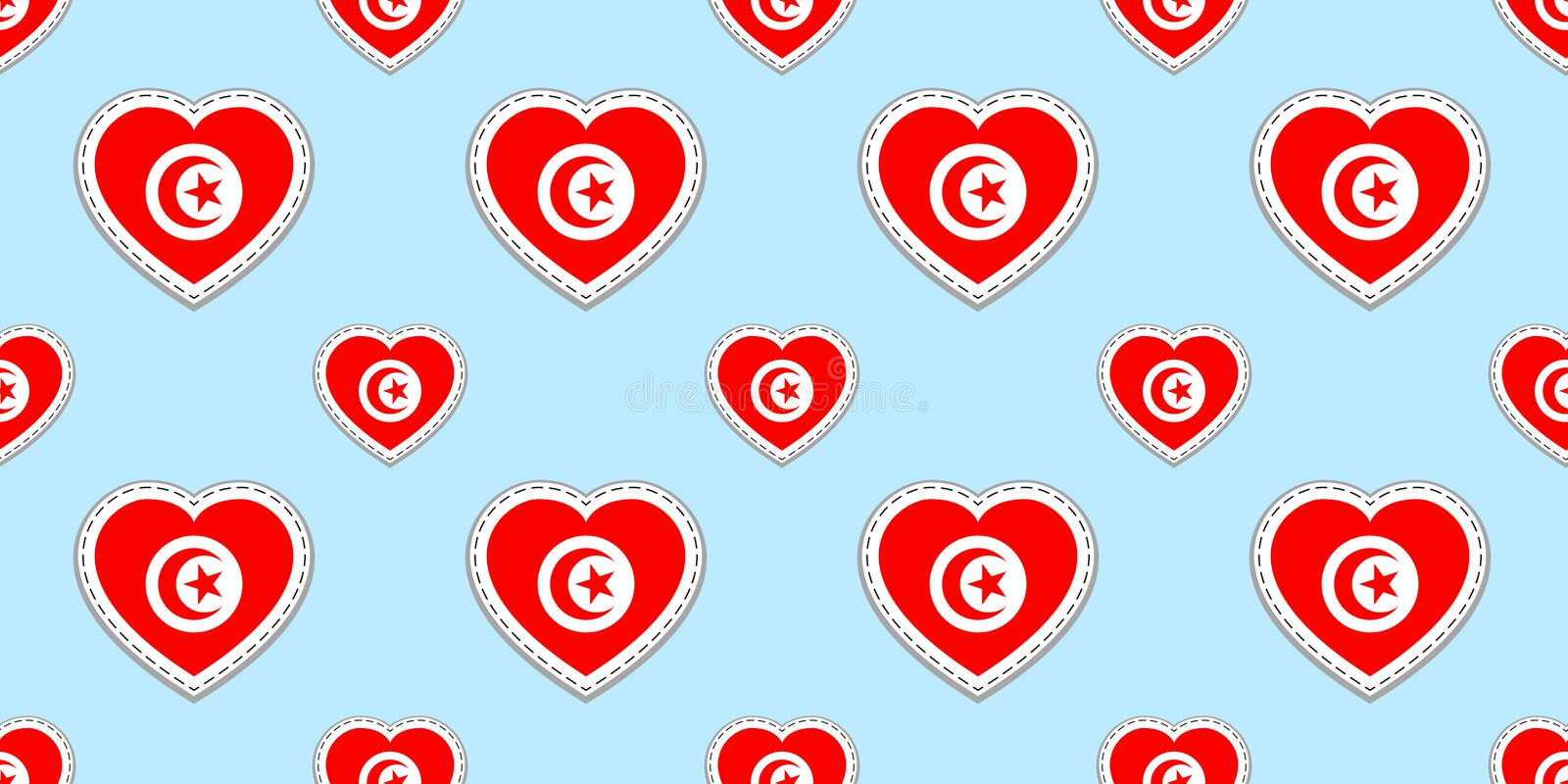 Tunisia background. Tunisian flag seamless pattern. Vector stikers. Love hearts symbols. Good choice for sports pages, travel, sch stock illustration