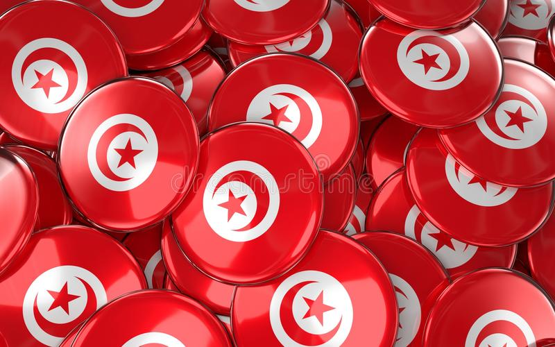Download Tunisia Badges Background - Pile Of Tunisian Flag Buttons. Stock Illustration - Illustration: 92615481