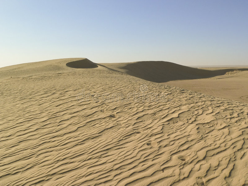 Tunisia Desert. Desert in tunisia with dunes, signs of wind and blue sky royalty free stock photo