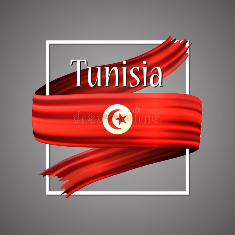 Tunisia flag. Official national colors. Tunisian 3d realistic stripe ribbon. Vector icon sign background. royalty free illustration