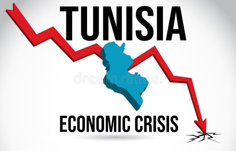 Tunisia Map Financial Crisis Economic Collapse Market Crash Global Meltdown Vector. Illustration vector illustration