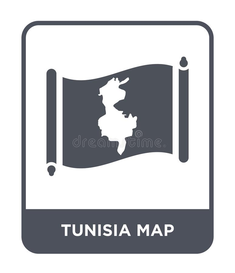 Tunisia map icon in trendy design style. tunisia map icon isolated on white background. tunisia map vector icon simple and modern. Flat symbol for web site vector illustration