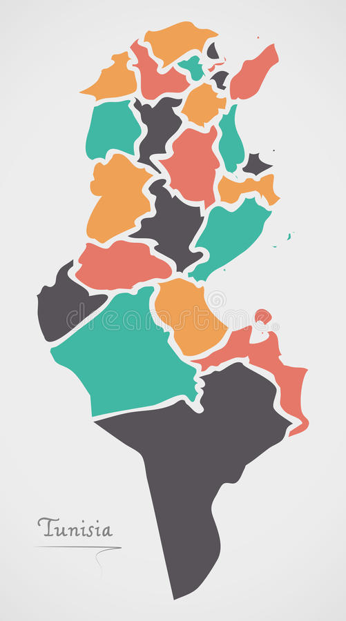 Tunisia Map with states and modern round shapes. Illustration royalty free illustration