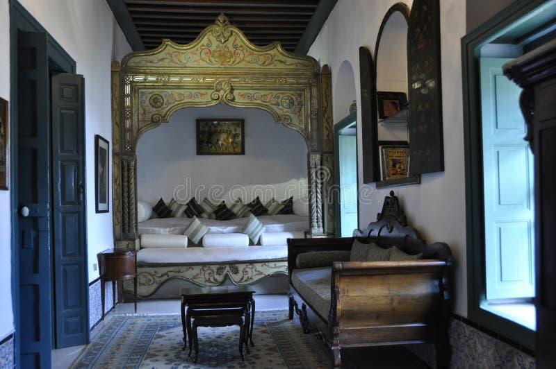 Oriental style interior design in the nobel restaurant Dar El Jeld in the Medina of Tunis stock photography