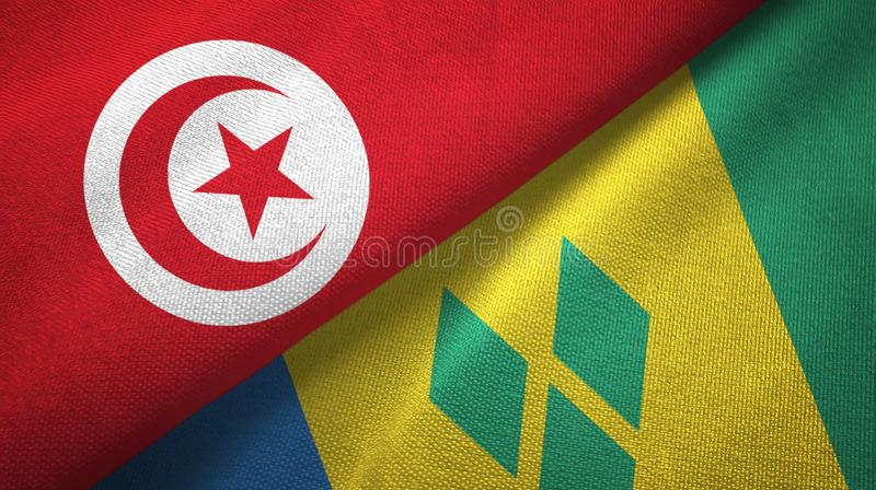 Tunisia and Saint Vincent and the Grenadines two flags textile cloth vector illustration