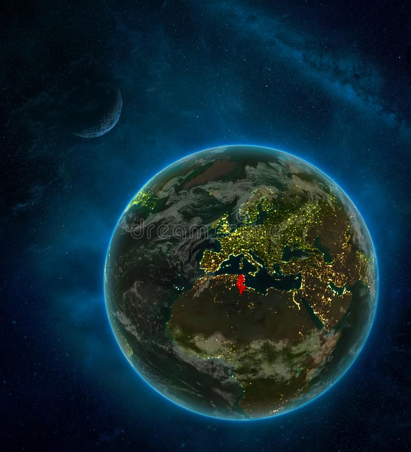 Tunisia from space on Earth at night surrounded by space with Moon and Milky Way. Detailed planet with city lights and clouds. 3D. Illustration. Elements of vector illustration