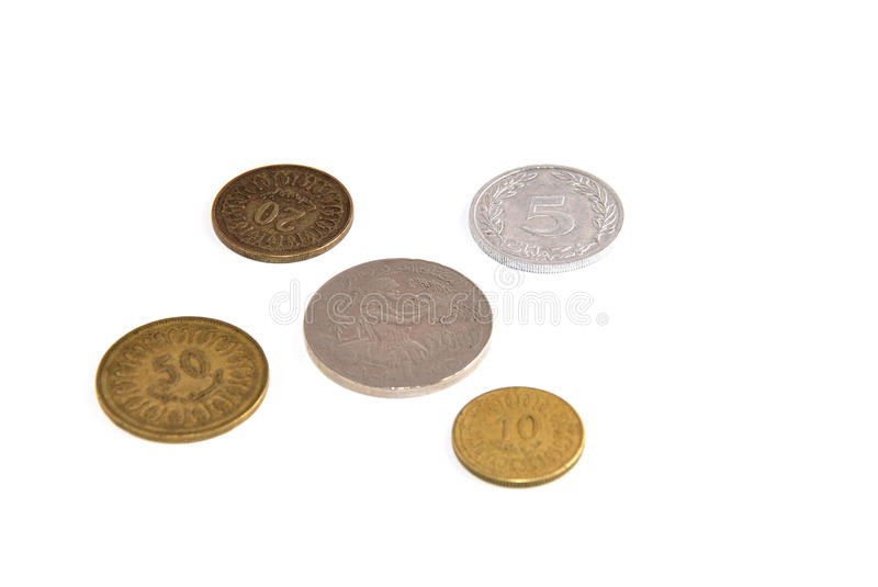 Tunisian Coins Isolated On White Background Stock Photography