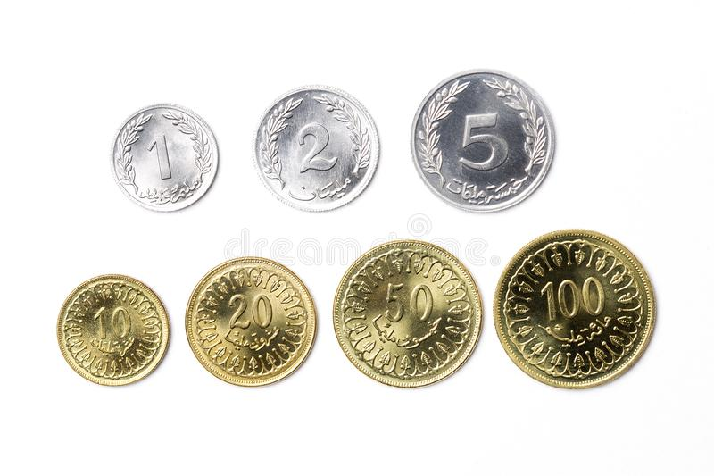 Tunisian dinar. On a white background stock image