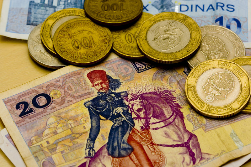 Tunisian Dinars. Coins and bills royalty free stock photography