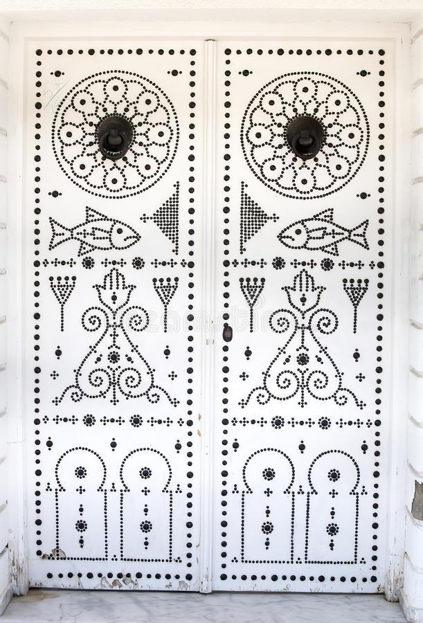 Tunisian door. With traditional drawings royalty free stock image