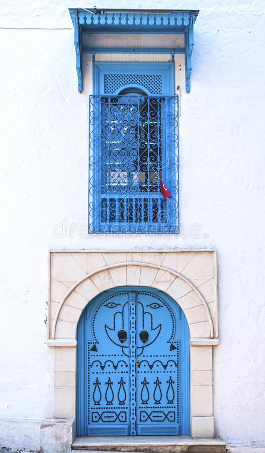 Tunisian doors. Traditional ornamental Tunisian door, detail from typical Mediterranean Arabic architecture stock photos