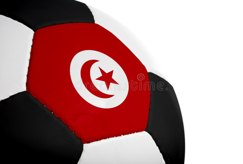 Tunisian Flag - Football. Tunisian flag painted/projected onto a football (soccer ball). Isolated on a white background stock image