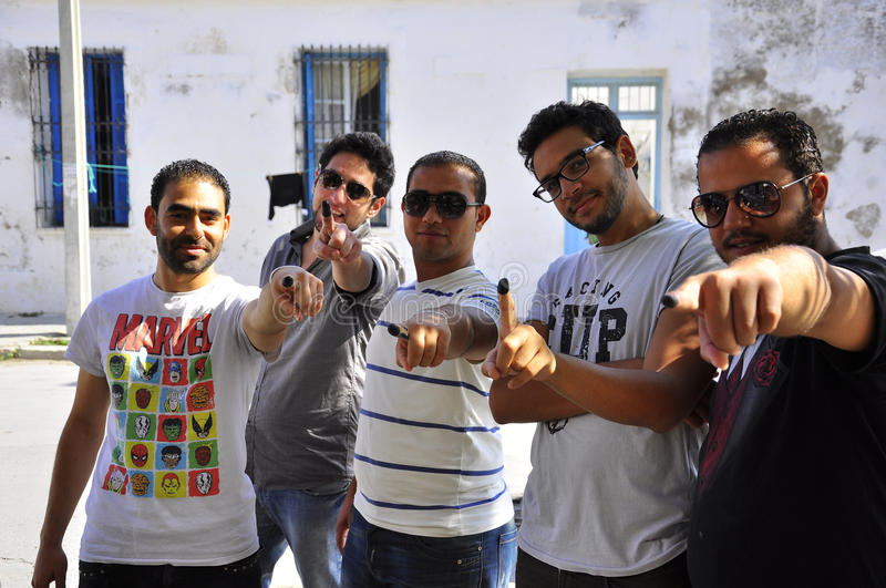 Tunisian men who voted. Very happy and proud royalty free stock photo