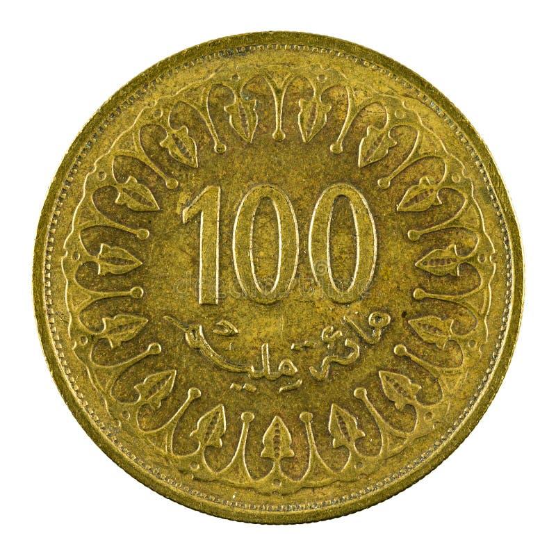 100 tunisian millimes myntar 2013 som isoleras på vit bakgrund arkivfoton