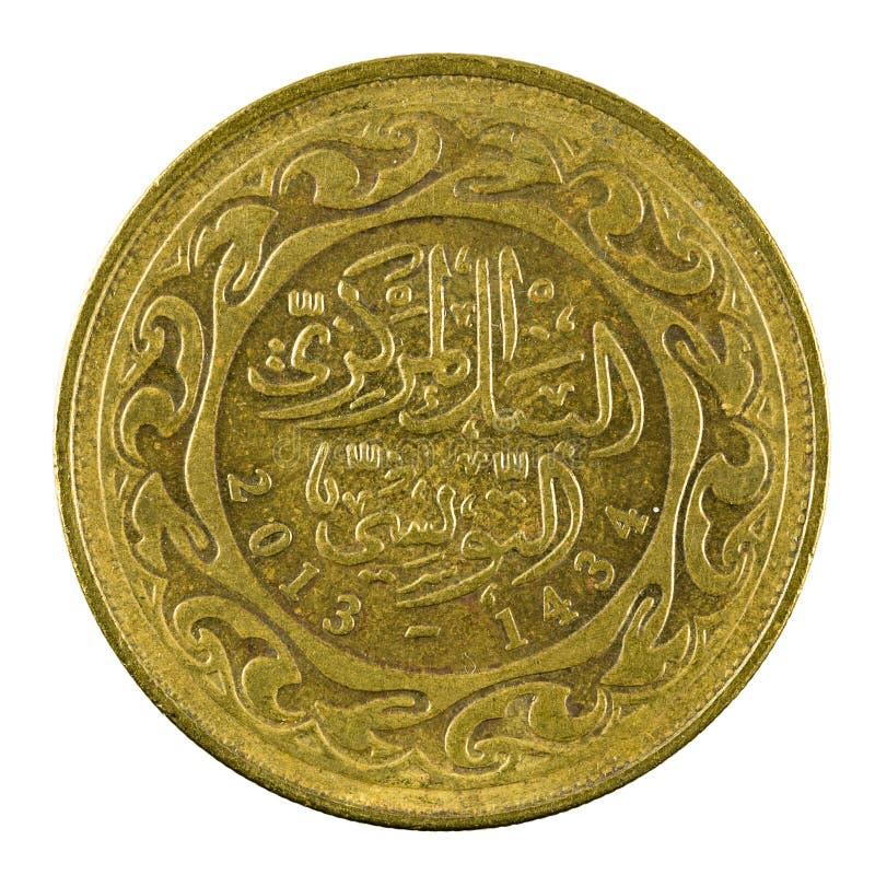 100 tunisian millimes myntar 2013 som isoleras på vit bakgrund royaltyfri foto