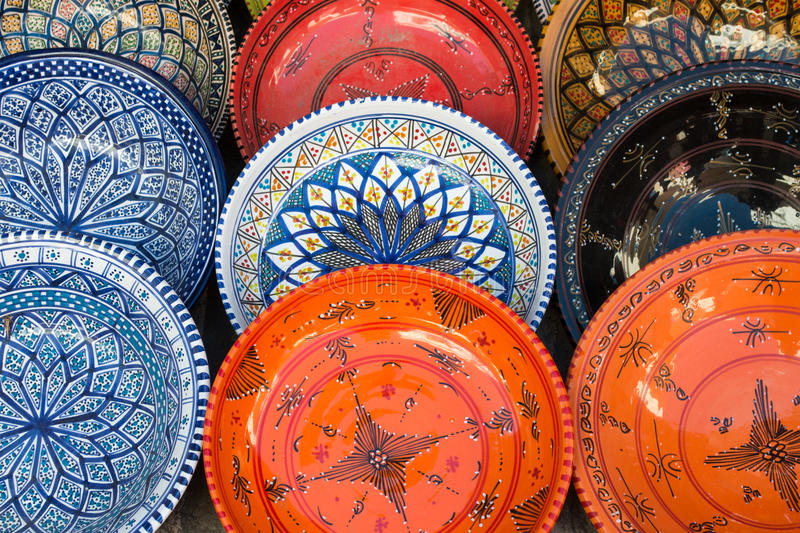 Tunisian Plates. Colorful Tunisian Plates on Display royalty free stock photos