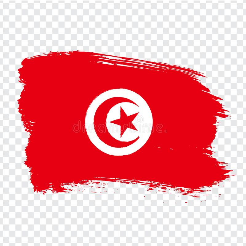 Tunisian Republic Flag isolated. Flag of Tunisia, brush stroke background. Flag Tunisia on transparent background. Flag Tunisian R stock illustration