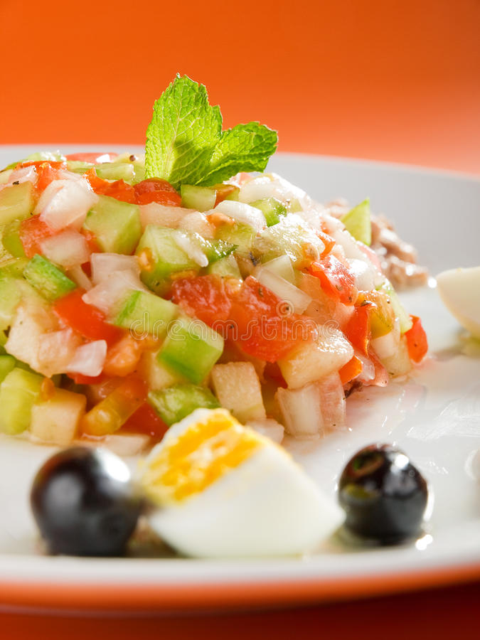 Tunisian salad. With cucumbers, tuna fish, eggs and olives stock images