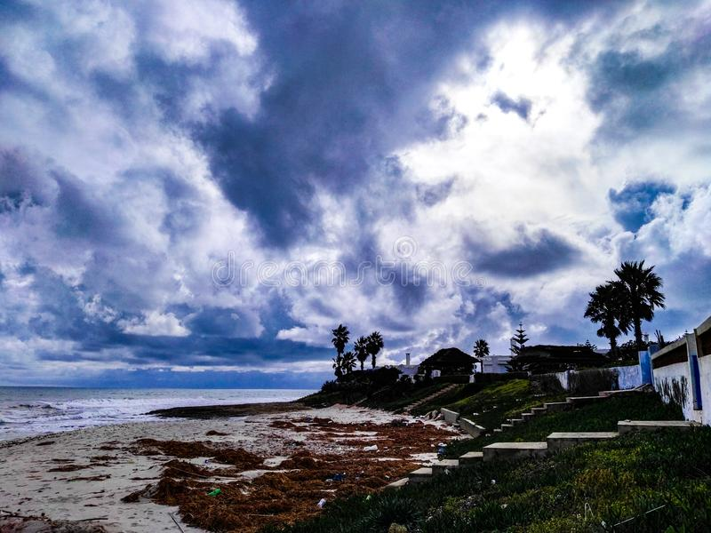 Tunisian sea. Land, clouds, palms royalty free stock photography