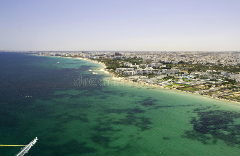 Tunisian Shoreline - View From Parachute Royalty Free Stock Photos