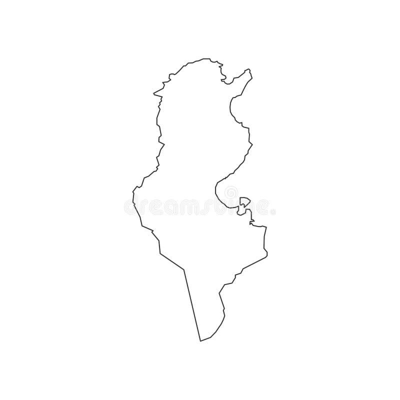 Tunisien översiktskontur royaltyfri illustrationer