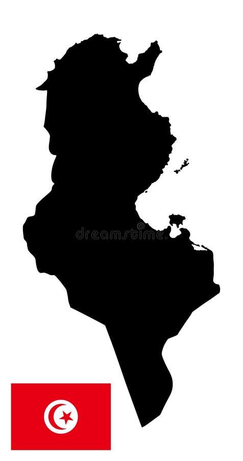 Tunisien översiktskontur och Tunisien flagga stock illustrationer