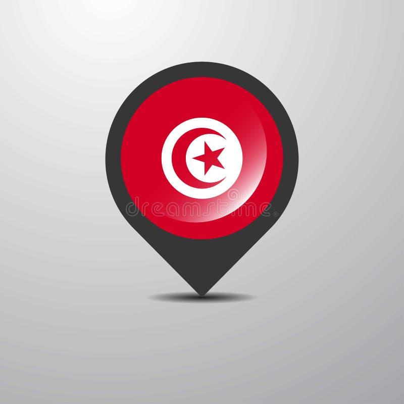 Tunisien översiktsstift royaltyfri illustrationer