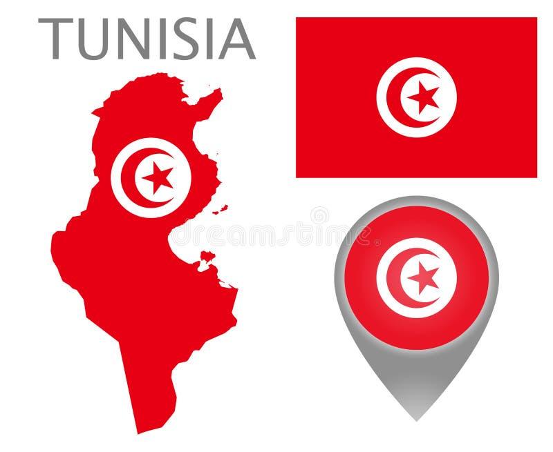 Tunisien flagga, översikt och översiktspekare vektor illustrationer