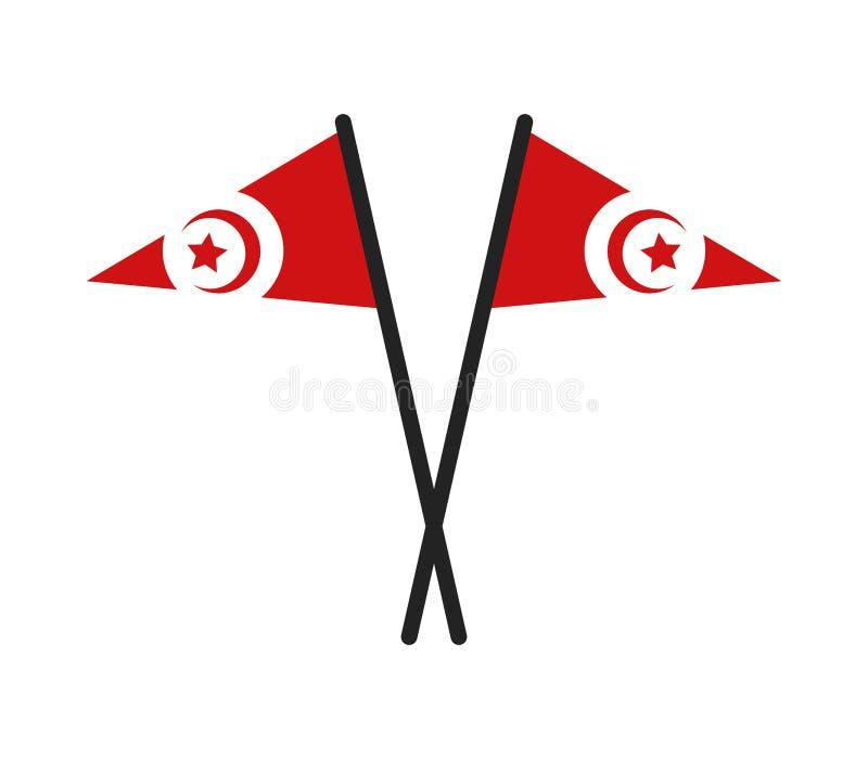 Tunisien flagga vektor illustrationer
