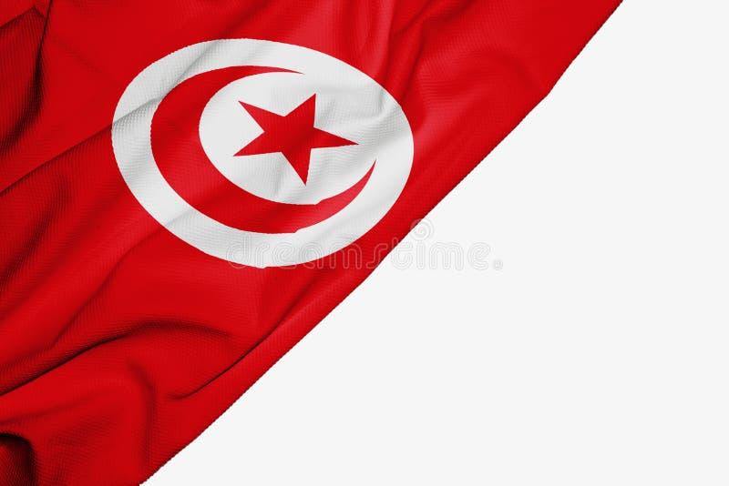 Tunisien flagga av tyg med copyspace f?r din text p? vit bakgrund stock illustrationer