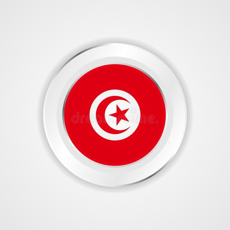 Tunisien flagga i glansig symbol stock illustrationer