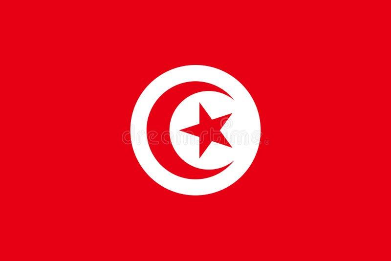 Tunisien flagga i officiella färger och med aspektförhållande av 2:3 stock illustrationer