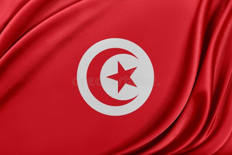 Tunisien flagga med en glansig siden- textur stock illustrationer