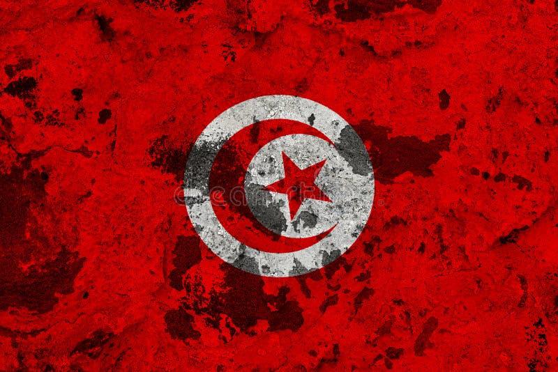 Tunisien flagga på den gamla väggen royaltyfri illustrationer