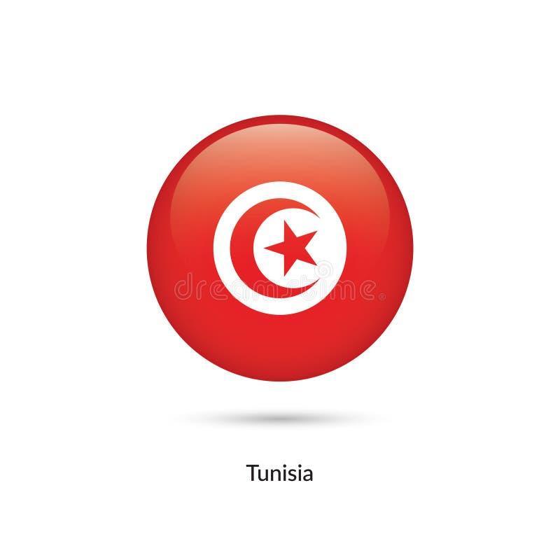 Tunisien flagga - rund glansig knapp royaltyfri illustrationer