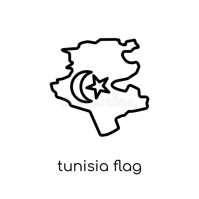 Tunisien flaggasymbol  stock illustrationer