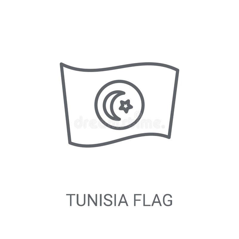 Tunisien flaggasymbol Moderiktigt begrepp för Tunisien flaggalogo på vit bac stock illustrationer