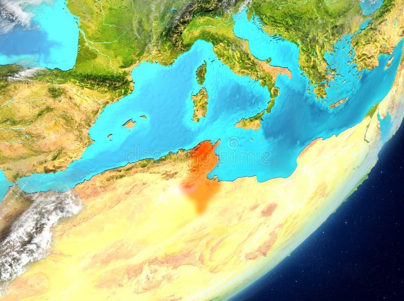 Tunisien från utrymme vektor illustrationer