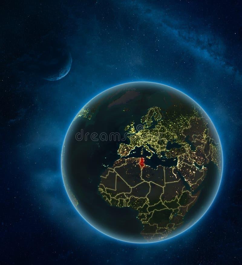 Tunisien från utrymme på natten stock illustrationer