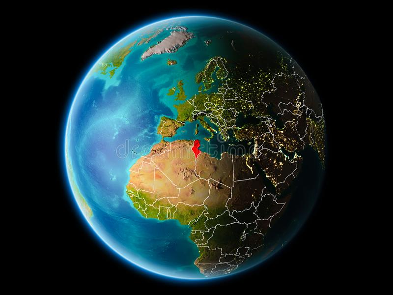 Tunisien i aftonen stock illustrationer