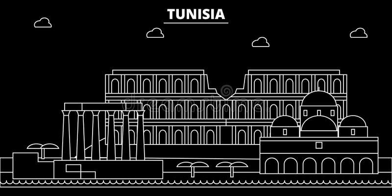 Tunisien konturhorisont, vektorstad, tunisian linjär arkitektur, byggnader Tunisien loppillustration, översikt stock illustrationer