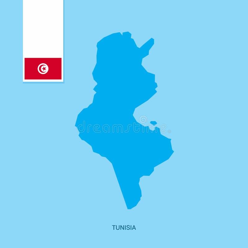 Tunisien landsöversikt med flaggan över blå bakgrund royaltyfri illustrationer